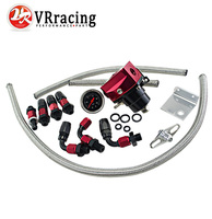 VR Racing Black Red Universal Fpr AN6 Fitting Fuel Pressure Regulator For 7MGTE MKIII With Hose