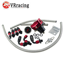 VR RACING-Negro y Rojo Universal fpr regulador de presión de combustible AN6 Apropiado Para 7 7MGTE MKIII con línea de manguera. Fittings. Gauge VR7842BKRD