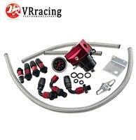 VR-Zwart & Rood Universele fpr AN6 Fitting EFI brandstofdrukregelaar Voor 7 MGTE MKIII met slang lijn. Fittings. Gauge VR7842BKRD