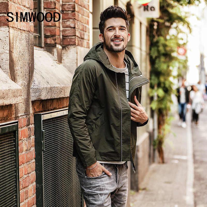 cd433a49e8b SIMWOOD 2019 Весна Новая куртка Для мужчин Slim Fit Куртки Для мужчин  ветровка повседневные пальто Верхняя
