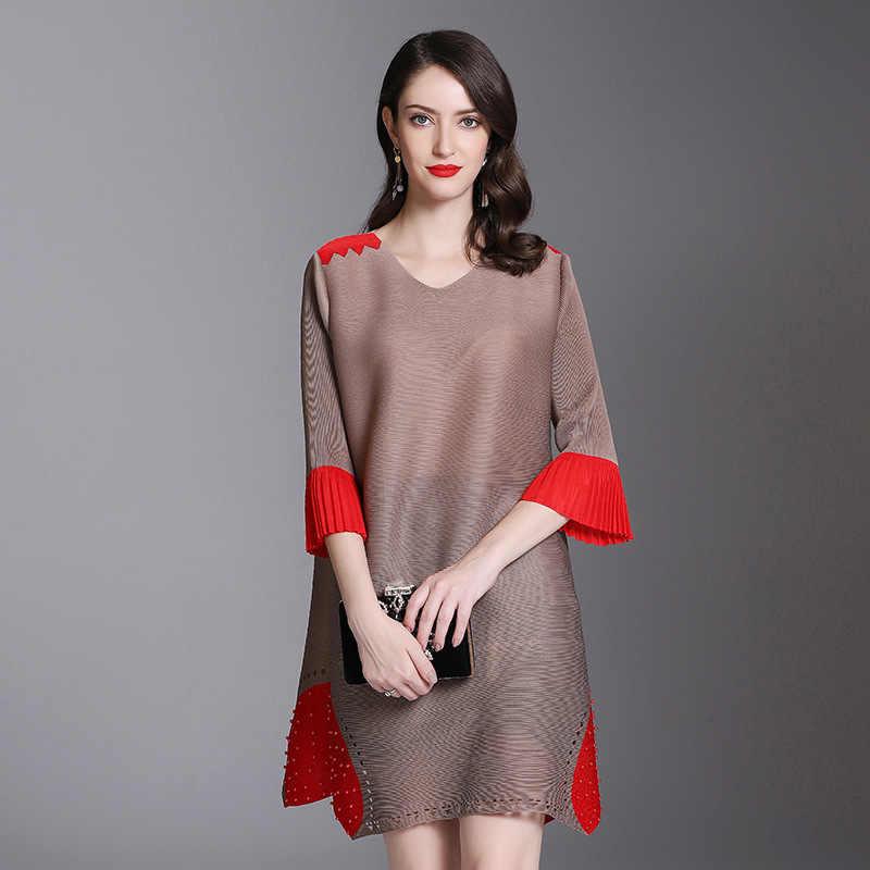 LANMREM 2019 плиссированная одежда для женские толстовки контрастного цвета лоскутное яркое с коротким рукавом платье Весна Лето Новая мода Vestido YG398