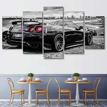 Decoration Posters On Canvas Living Room HD Printed Frame Modern Painting 5 Panel Black Sport Car Modular Picture Wall Art Home(China)