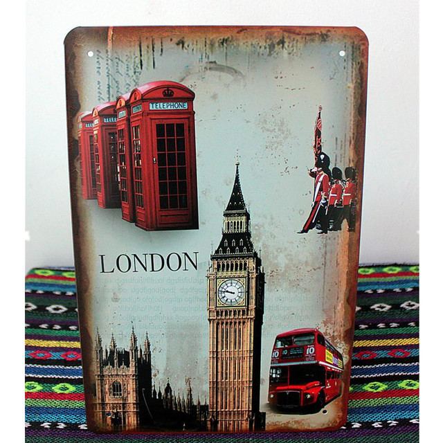 London Tower old Bus Vintage Tin signs 2030 Shabby Chic Metal