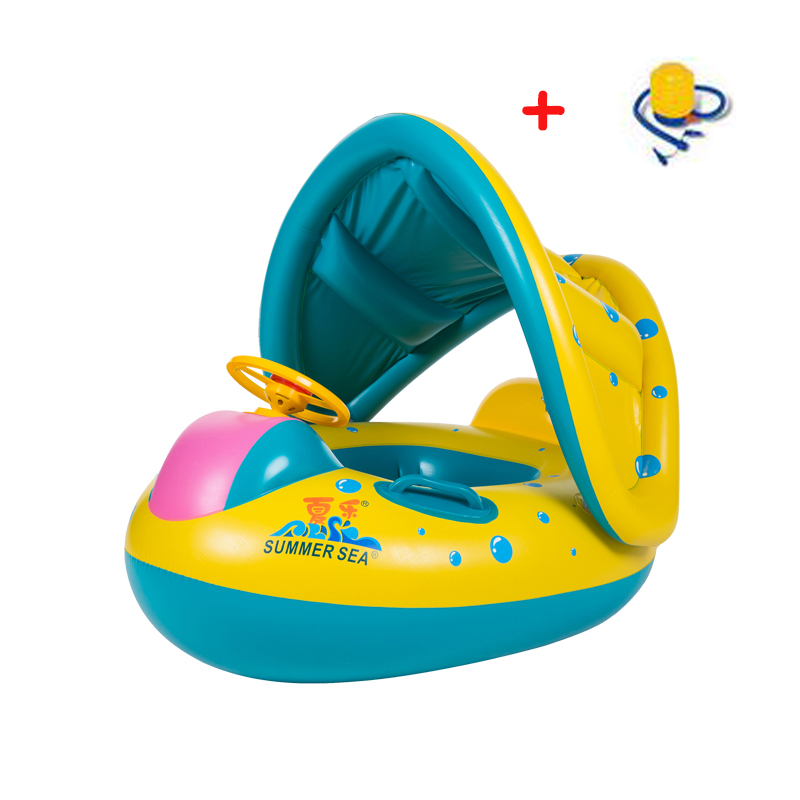 Free shipping Inflatable Toddler Baby Swim Ring Float Seat Swimming Pool Seat with Canopy 030201