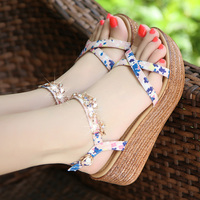 Bohemian Wedges Sandals Women Summer 2019 New Sweet Platform Shoes With Chain Lady Luxury Sandals