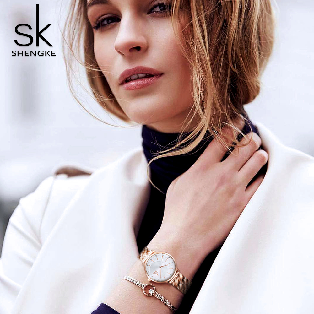 ShengKe Luxury Women Watches Rose Gold Steel Unique Design Casual Rhinestone Female Wristwatch Fashion Simple Waterproof Clocks in Women 39 s Watches from Watches