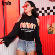 Auyiufar Sexy Open Shoulder Casual Loose Women Sweatshirt O-Neck Flare Sleeve Pullovers Fashion Letter Print Women's Clothes plus open shoulder sweatshirt