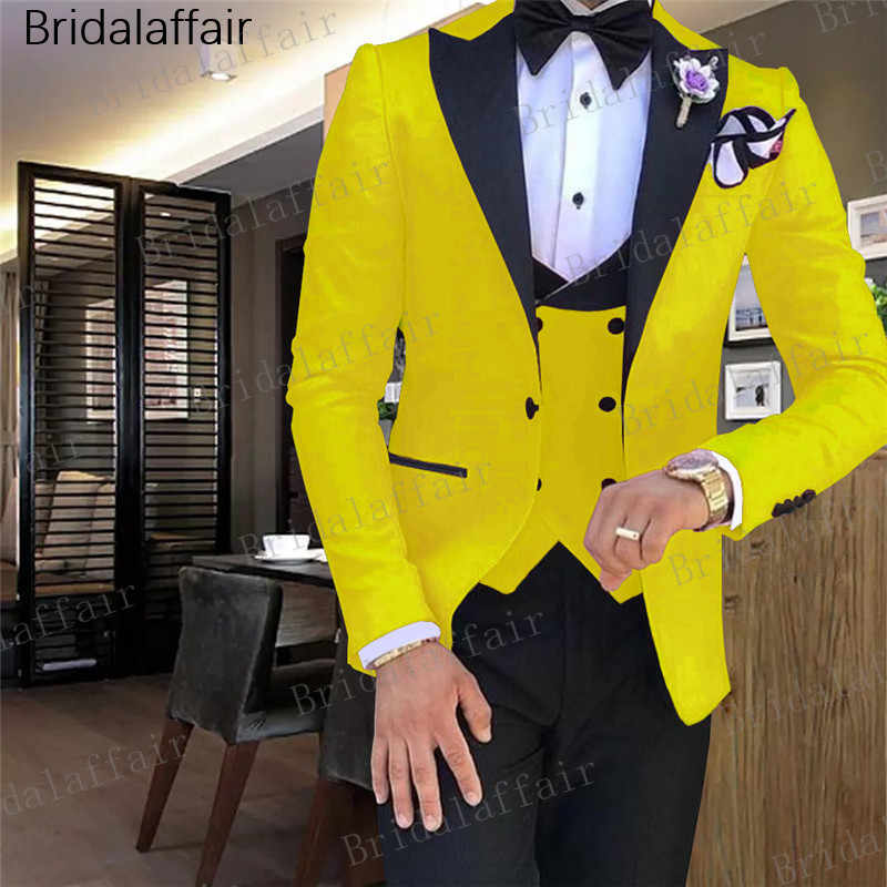 Gwenhwyfar Tide Men Colorful Fashion Wedding Suits Plus Size Yellow Pink Green Blue Purple Suits Jacket Pants Vest 3Pcs Tuxedos