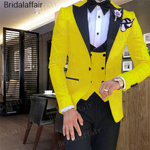 Gwenhwyfar Tide Men Colorful Fashion Wedding Suits Plus Size Yellow Pink Green Blue Purple Suits Jacket Pants Vest 3Pcs Tuxedos