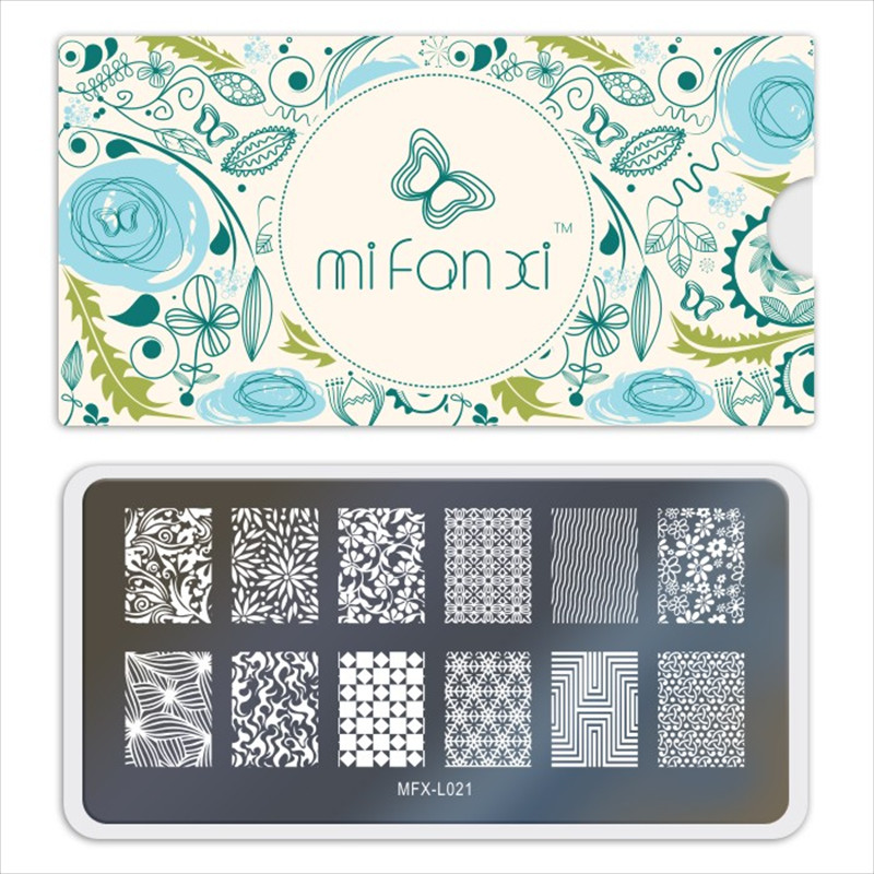 MiFanXi Nail Art Stamp Template Chinoiserie Flower Style Pattern Nail Stamping Plate DecorationsDIYImage Manicure Plate Stencil