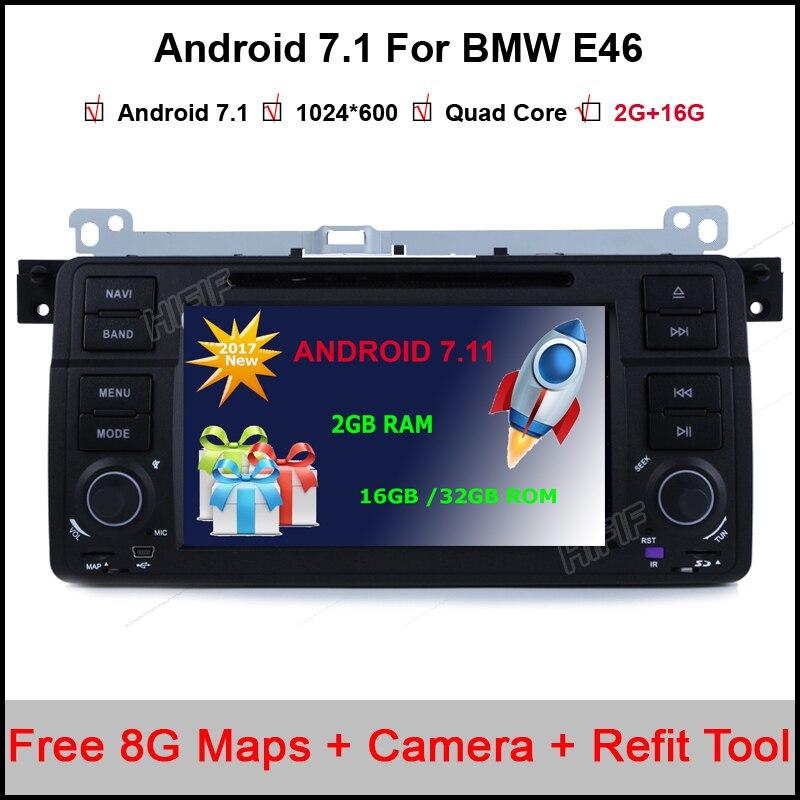 Lecteur DVD de voiture Android 7,1,2 7 pouces multimédia pour BMW/E46/M3/MG/ZT/3 séries Rover 75 Canbus Wifi GPS Navigation carte Radio FM