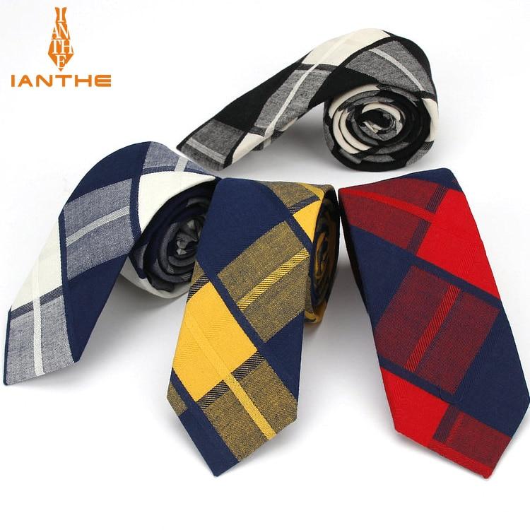 Ianthe 6.5cm Men's Suit Tie Classic Men Plaid Necktie Formal Business Bowknots Ties Male Cotton Skinny Slim Narrow Ties Cravat