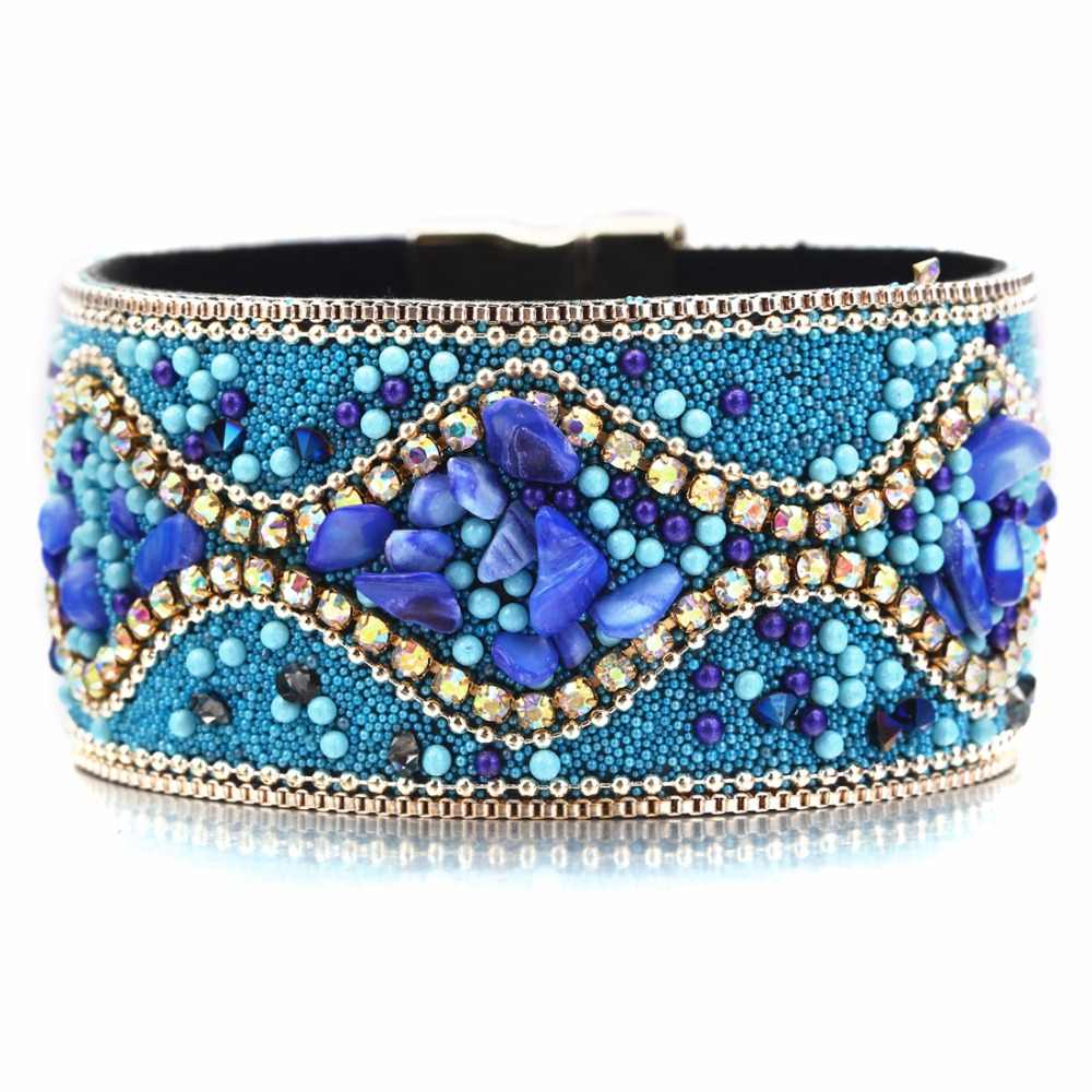 Hot Sale 2018 1pc Fashion Women Multilayer Bangle Bracelet Crystal Beaded Leather Magnetic Wristband Drop Shipping