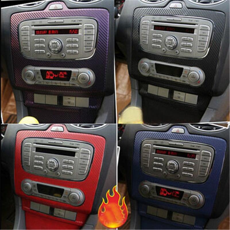 Car Styling 3D Carbon Fiber Sticker Central Control Panel Decoration Trim Case For Ford Focus Mk2 2009-2016 Auto Accessories