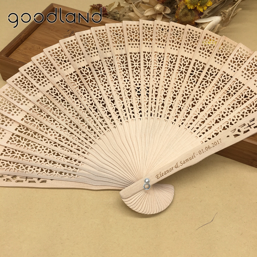 Free Shipping 50pcs/Lot Personalized Printing Text Wood Hollow Carved Chinese Hand Fan Organza Bag Wedding Favors And Gifts