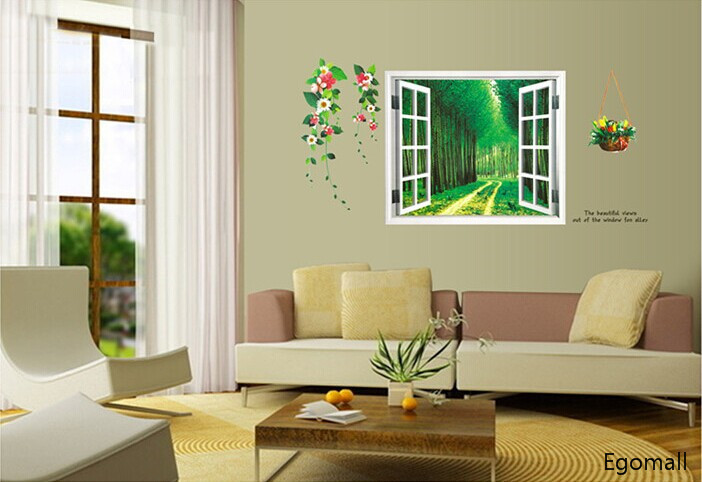 Ordinaire Window Painting Wall Sticker 3D Wall Decals Adesivo De Parede Living Parlor  Bedroom Decoration Removable Wall Sticker Home Decor In Wall Stickers From  Home ...