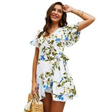 2019 Summer Dress Wrap Midi Dress Women Boho Vintage Print Flower White Beach Dress V Neck Sexy Casual Retro Office Lady Dresses flower print flutter sleeve wrap dress