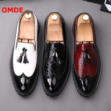 OMDE Summer British Style Brogue Mixed-color Leather Shoes Men Tassel Loafers Pointed Toe Slip On Men's Prom And Wedding Shoes cangma british style leather pointed shoes tassel casual men handmade designer leisure slip on shoes 2017 male sapato masculinos
