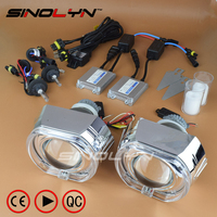 SINOLYN Full Metal Q5 X5 Square LED Angel Eyes HID Bixenon Projector Lens Headlight Headlamps Full Kit Car Styling For Retrofit
