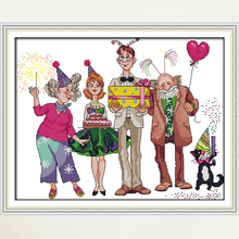 Joy Sunday,Birthday party, Cross Stitch Embroidery Set, Printed Needlework, Cartoon embroidery