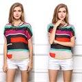 Мода 2016 Лето Печати Топы Повседневная О-Образным Вырезом Рубашки Нескольких Цветов Женщины Шифон Блузки 007