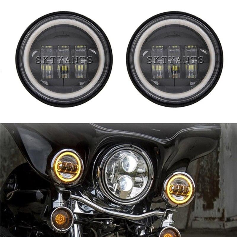 2 pièces 4.5 pouces antibrouillard jaune DRL Angel Eyes spécial moto Halo anneau lumière auxiliaire conduite passant