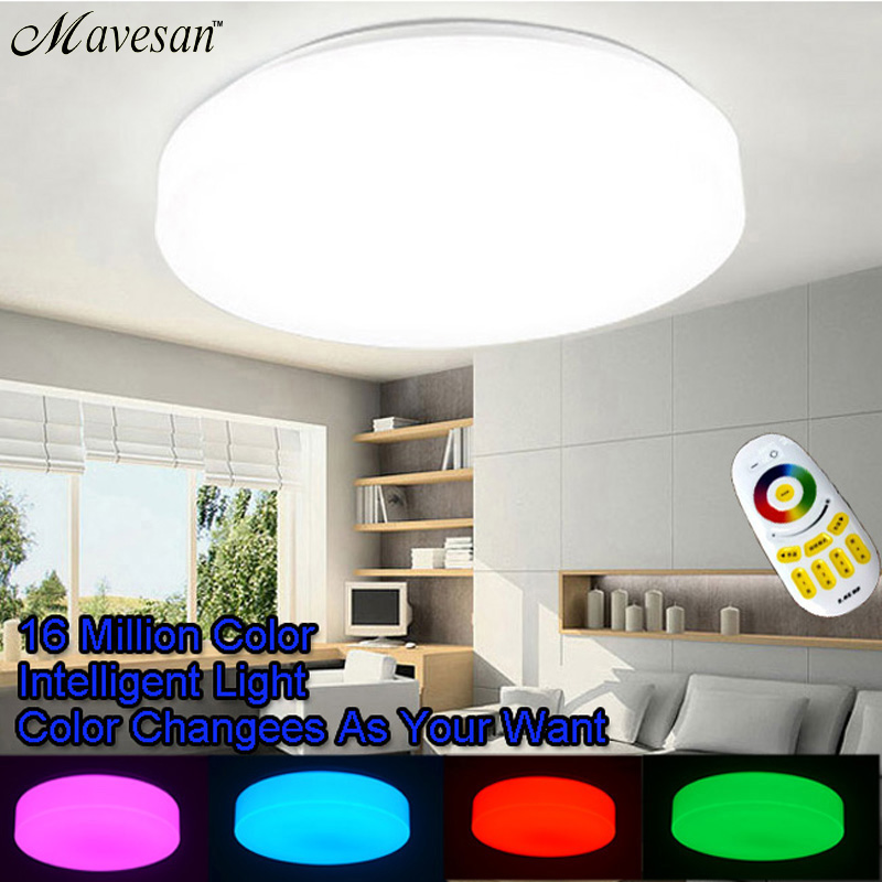 Hot led ceiling lights flush mount for sitting room RGB and dimmer lamparas de techo for indoor with Aluminum+Acryl boby noosion modern led ceiling lamp for bedroom room black and white color with crystal plafon techo iluminacion lustre de plafond