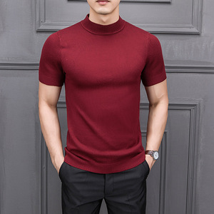 MRMT 2019 Brand New Autumn Men's Sweater Pure Color Semi-high Collar Knitting for Male Half-sleeved Sweaters Tops
