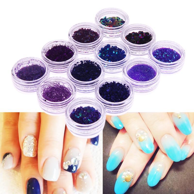 12 Botellas Mixta Púrpura Lentejuelas Uñas Glitter para DIY UV ...