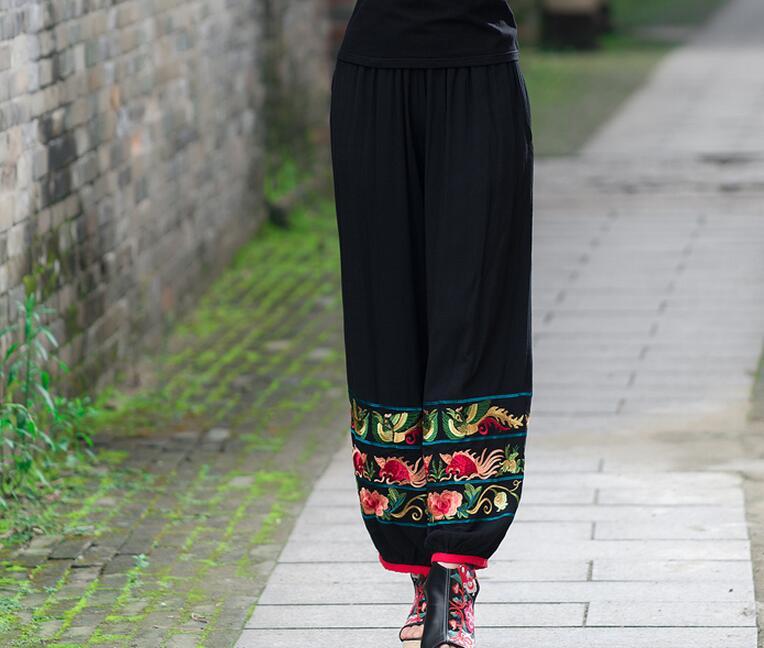 Cintura Alta Algodón Las M Moda Yardas 2019 Bordado Primavera Negro Nuevas xl Grandes pantalón De Fino Caliente Mujeres Flores vzwzxFq7X