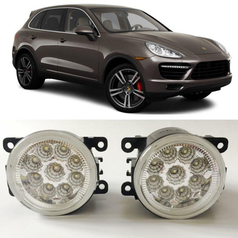 Car Styling For Porsche Cayenne 2012-2016 9-Pieces Leds Chips LED Fog Light Lamp H11 H8 12V 55W Halogen Fog Lights car styling for dacia renault sandero 2010 2016 9 pieces leds chips led fog light lamp h11 h8 12v 55w halogen fog lights