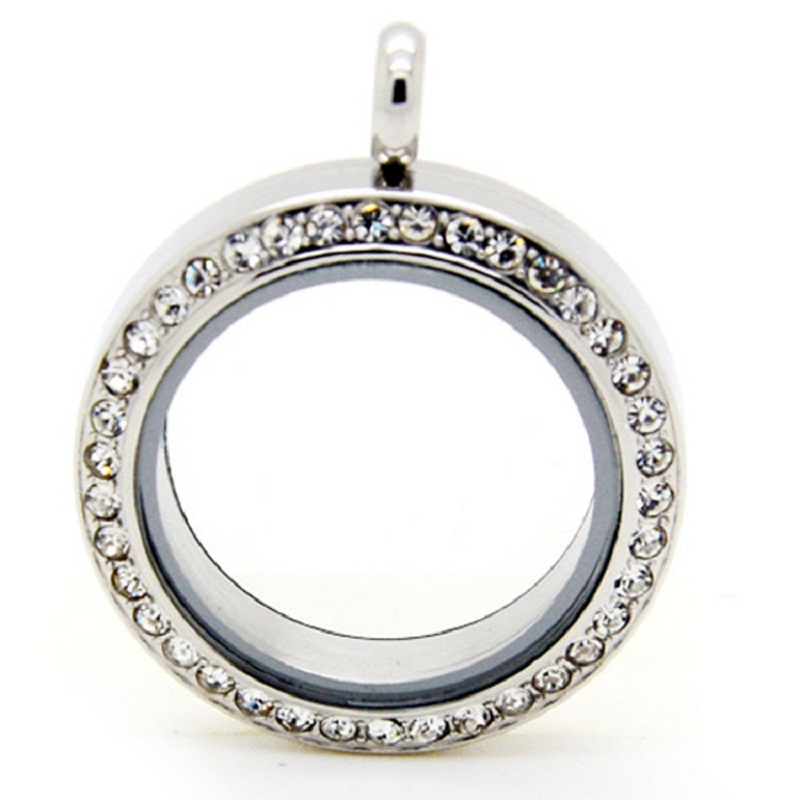 Image 2 - Stainless Steel Floating Locket Pendant With Rhinestone Silver  Screw Living Memory Floating Charm Locket For Women Gift 10pcsfloating  locket pendantlocket pendantstainless steel floating locket -