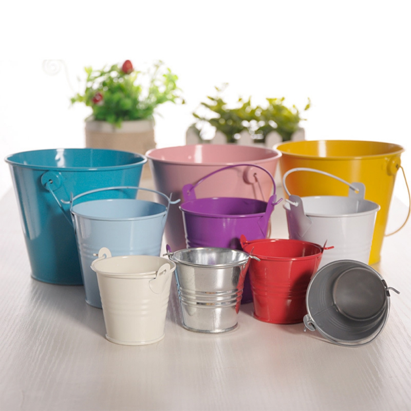 Image 2 - Dropshipping Mini Metal Buckets Colorful Tinplate Pails Candy Boxes Flower Pots Wedding Supply Home Decoration Storage Boxes-in Flower Pots & Planters from Home & Garden