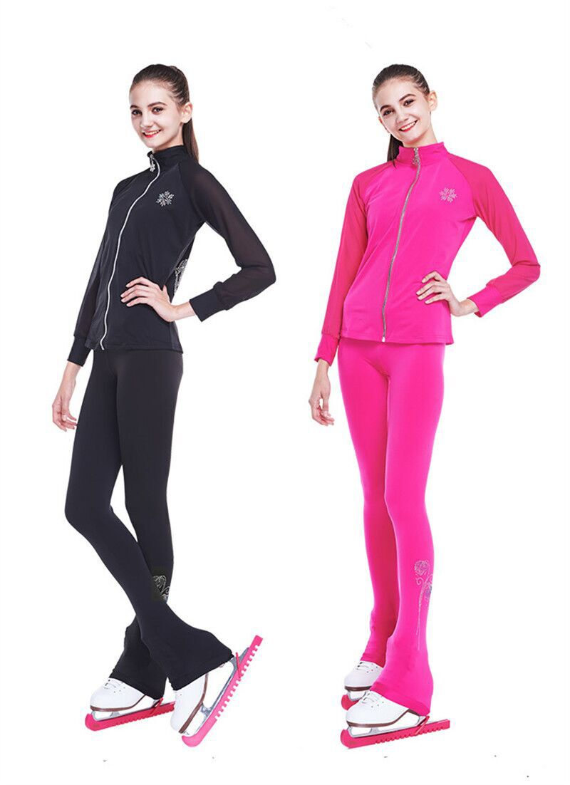 Customized Figure Skating Suits Jacket And Pants Long Trousers For Girl Women Training Ice Skating Warm Black Pink Mesh Sleeve
