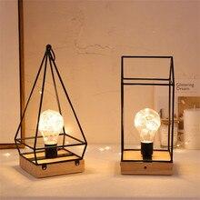 Thrisdar bombillas LED de hierro y cobre nórdico, lámparas de mesa creativas para dormitorio, mesita de noche, lámpara de mesa de madera para Hotel