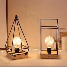 Thrisdar الشمال الحديد النحاس لمبات مصابيح طاولة توفيرية الإبداعية نوم السرير الجدول ليلة ضوء Restuarant فندق مصابيح طاولة خشبية