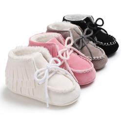 Новые 4 вида цветов Лидер продаж зимние Ткань хлопок с мехом Обувь мода, для маленьких мальчиков и девочек на мягкой подошве снег детские