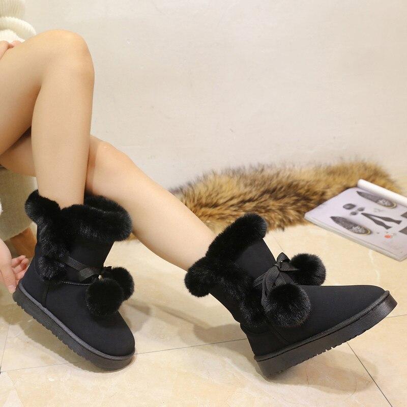 slip Suède Mujer Chaude Fausse En Non brown Black Chaussures Cheville 972 Fourrure Mode De Neige Femmes Botas Peluche D'hiver pink Fonirra Hiver Bottes CvwUq0ZU