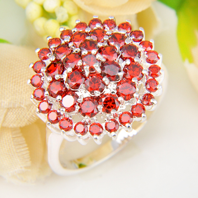 Promotion Jewelry Lucky Shine Fire Full Shine Garnet Silver Plated
