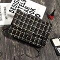 Bolsa de moda 2017 do vintage pequeno saco do mensageiro das mulheres casuais xadrez mini saco cadeia lockbutton