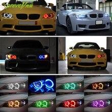 حار بيع 42 RGB 5050 SMD عيون الملاك مصباح LED فائق السطوع هالو ضوء المصابيح الأمامية اللاسلكية عن بعد عدة ل BMW E36 E38 E39 e43 E46