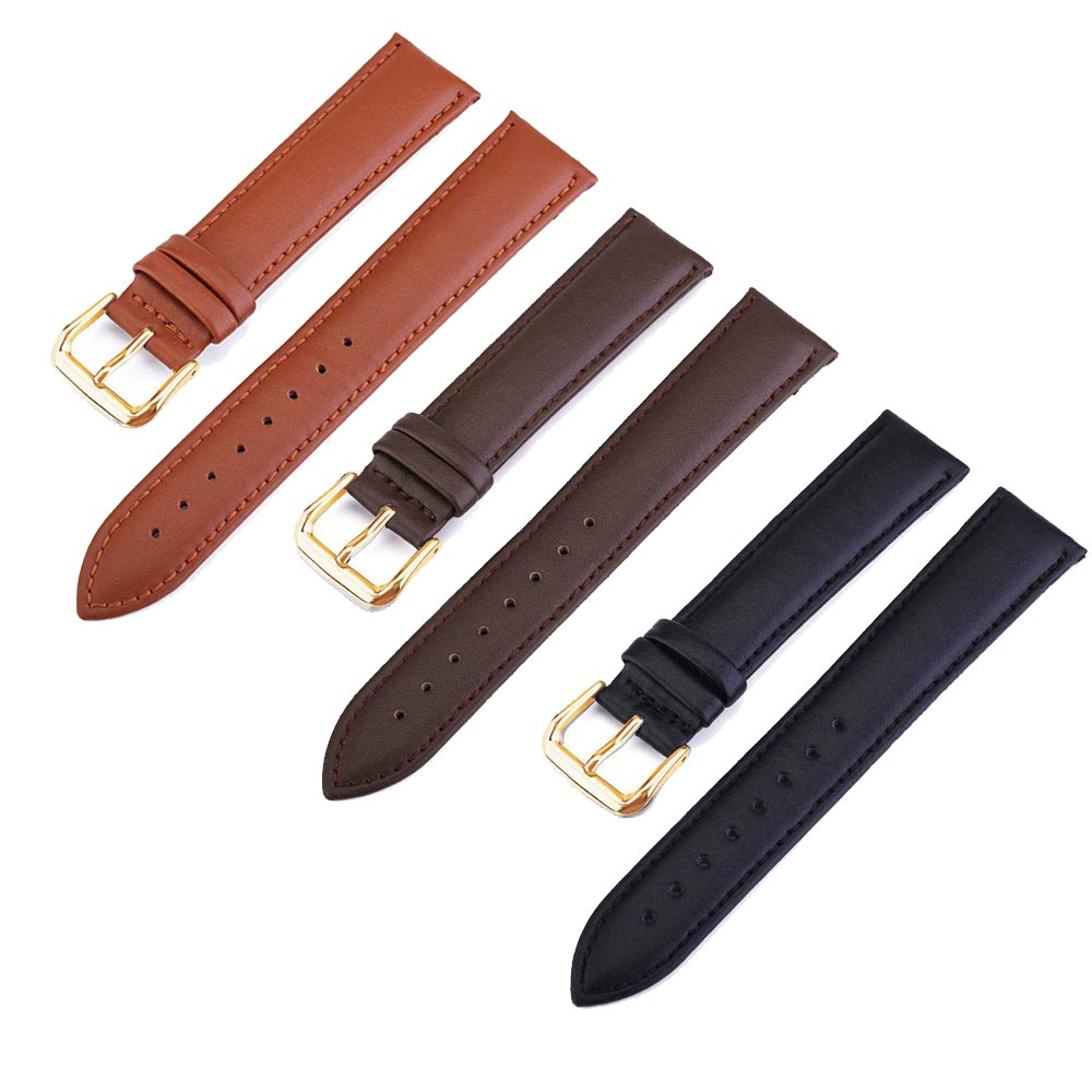 Rose gold button for dw watch Black Brown Genuine Leather Watch Strap Replacement Smooth Watchband 18 20 22 24mm Relojes Hombre zlimsn smooth genuine leather men s watch band strap replacement black brown 18 20 22 24mm watchband butterfly deployment buckle
