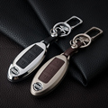 Leather Car Keychain Key Case Cover for Nissan Tiida Qashqai X-Trail Livina Sunny Sylphy Teana Key Rings Holder bag Accessories