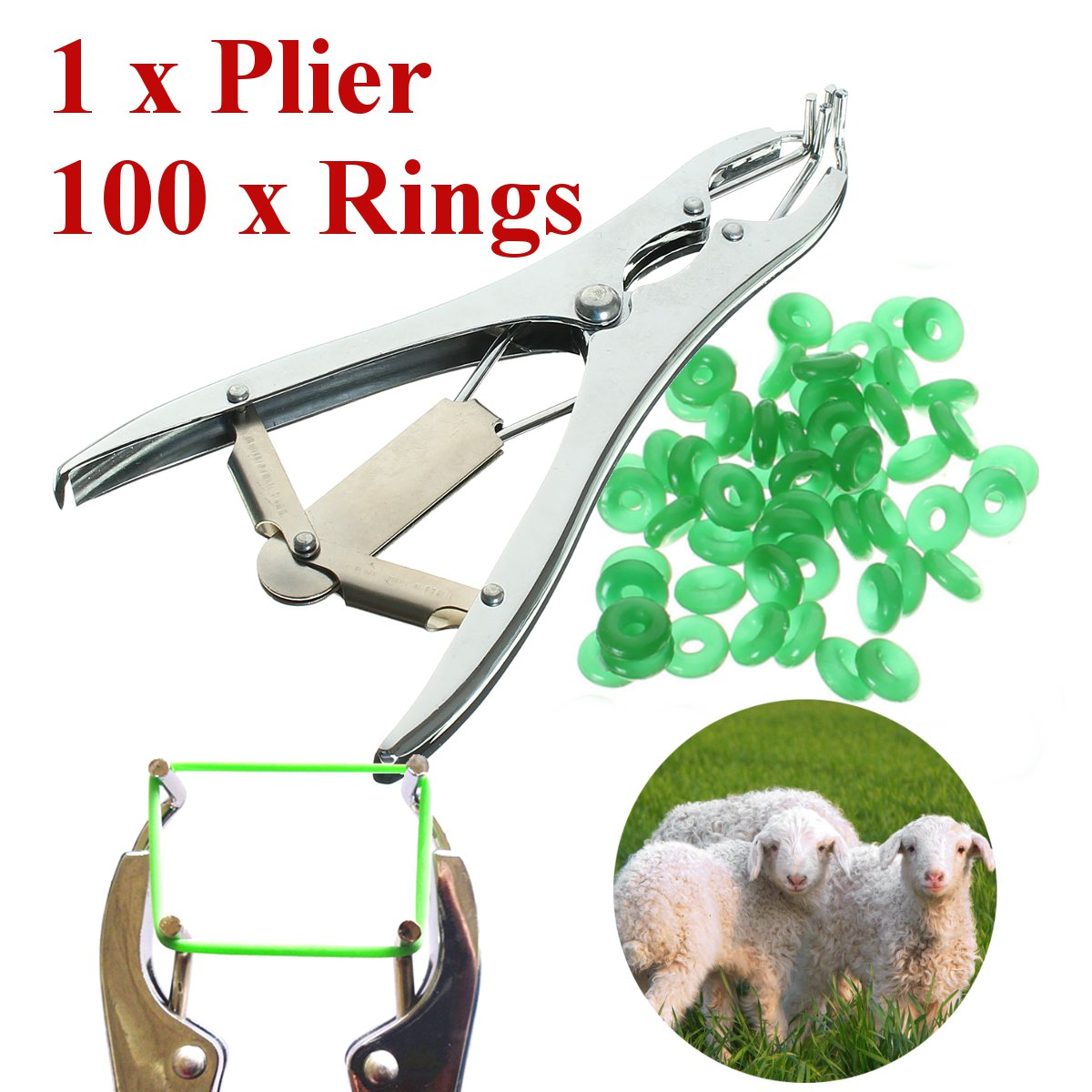1 Plier for Sheep Cattle Castration Banding Tail Applicator Farm w/ 100 Rings Щипцы