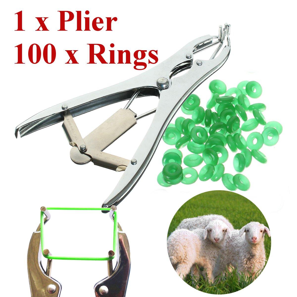 1 Plier for Sheep Cattle Castration Banding Tail Applicator Farm w/ 100 Rings Щипцы