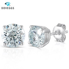 DovEggs Classic 4CTW 8mm Slight Blue Moissanite Stud Earrings for Women Sterling Solid 925 Silver Earrings Push Back with 10K doveggs romantic 14k rose gold 4ctw 8mm f color hearts and arrows moissanite stud earrings with push back for women