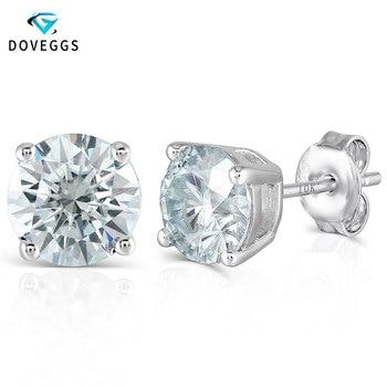 DovEggs Classic 4CTW 8mm Slight Blue Moissanite Stud Earrings for Women Sterling Solid 925 Silver Earrings Push Back with 10K