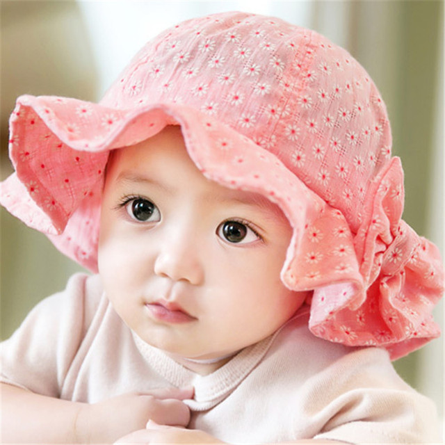 Spring Summer Children Princess Baby Girls Floral Cap Bowknot Sun Beach Hat  Newborn Kids Large Brimmed Caps Infant Accessories 8f8a4c43bad