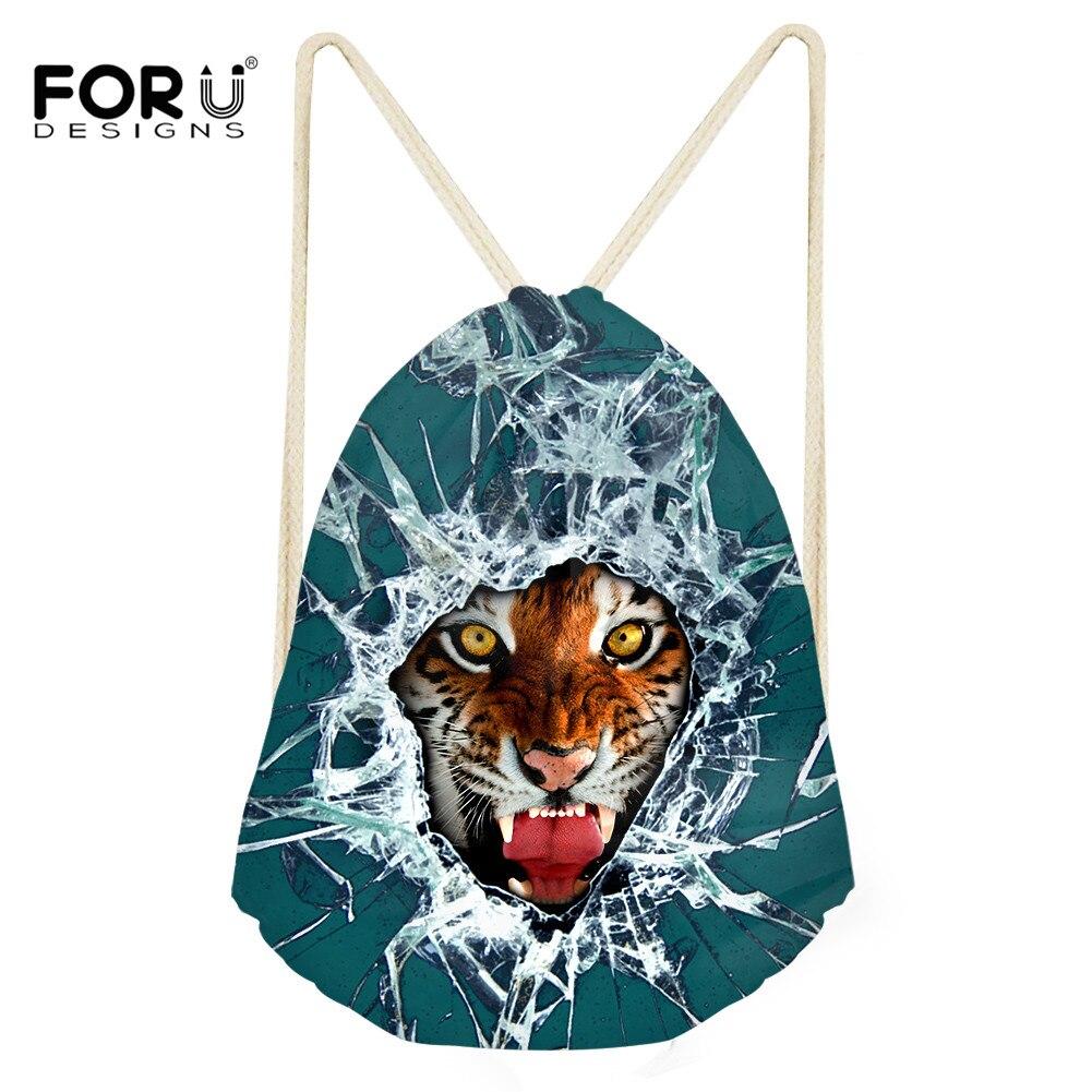 FORUDESIGNS 3D Printing Tiger Travel Backpack Drawstring Bag For Teenage Boys Men Animal Shoulder Bags Rucksack Mochila Escolar