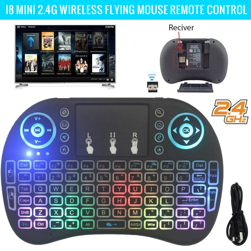 <font><b>i8</b></font> <font><b>2.4Ghz</b></font> Luxury <font><b>Wireless</b></font> <font><b>Keyboard</b></font> 3 Color Backlight + 7 Colorful Light English/Russian/French/Spanish Remote Control Touchpad image